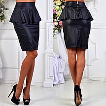"""Элегантная женская юбка средней длины 047 """"Кожа Баска"""" в расцветках, фото 3"""