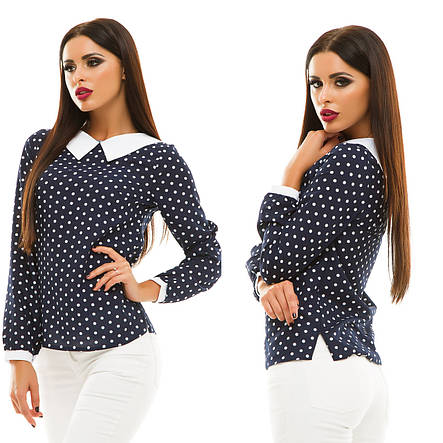 """Элегантная женская блузка 123 """"Горошек Воротничок Контраст"""" в расцветках, фото 2"""