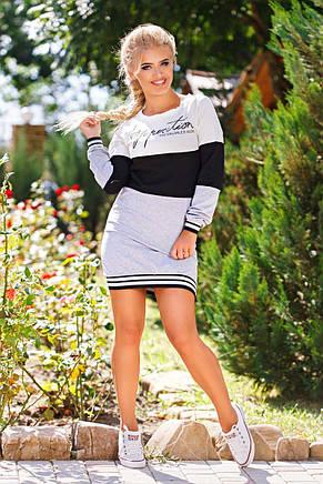 """Женское короткое стильное платье 16516 """"Спорт Полоса"""", фото 2"""