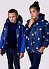 """Детская тёплая удлинённая двухсторонняя куртка 2218-1 """"Звёзды Подросток"""""""