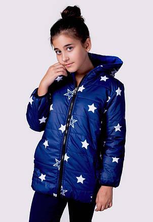 """Детская тёплая удлинённая двухсторонняя куртка 2218-1 """"Звёзды Подросток"""", фото 2"""