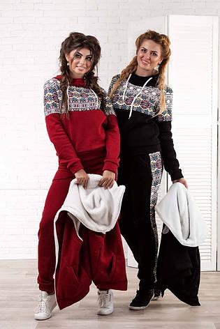 """Женский тёплый спортивный костюм-тройка в больших размерах 5020 """"Орнамент Мех"""" в расцветках, фото 2"""