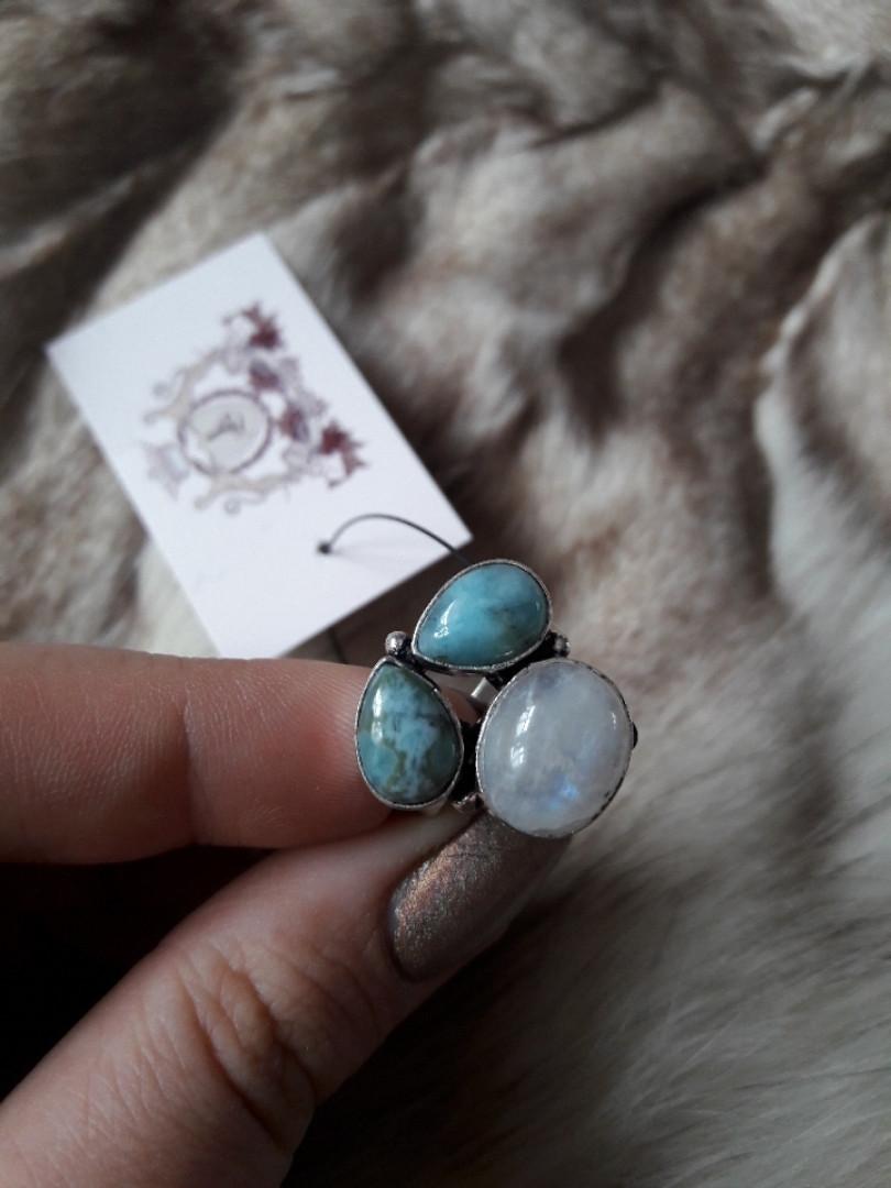 Карибский ларимар кольцо с ларимаром (Доминиканская бирюза) лунный камень (адуляр). Размер 17,5