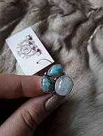 Карибский ларимар кольцо с ларимаром (Доминиканская бирюза) лунный камень (адуляр). Размер 17,5, фото 1