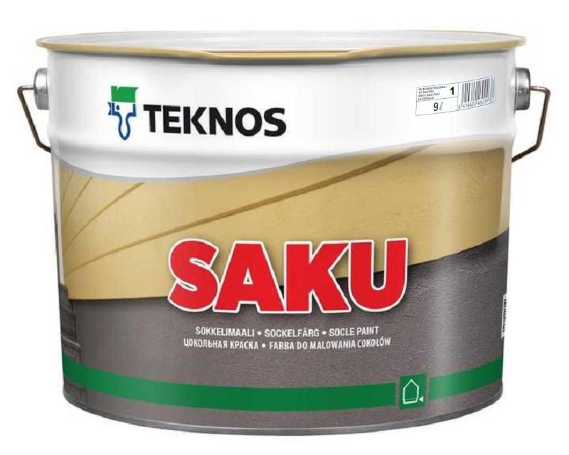 Краска щелочестойкая TEKNOS SAKU для цоколя и бетона белая (база 1) 9л