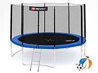 Батут Hop-Sport 12ft (366cm) синий с внешней сеткой