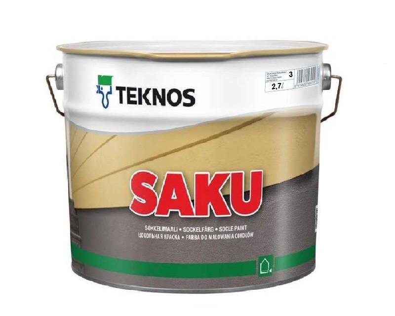 Краска щелочестойкая TEKNOS SAKU для цоколя и бетона транспарентная (база 3) 2,7л
