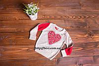Очень красивая, нежная бело-красная кофта с бабочками на девочку 1 год