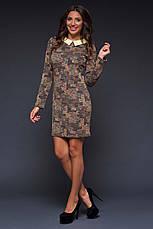 """Элегантное женское платье средней длины 494 """"Жаккард Абстракция Воротничок"""" в расцветках, фото 2"""