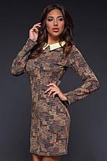 """Элегантное женское платье средней длины 494 """"Жаккард Абстракция Воротничок"""" в расцветках, фото 3"""