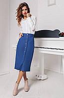 """Женская стильная юбка средней длины 937 """"Джинс Миди Пуговицы"""""""