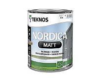 Краска акриловая TEKNOS NORDICA MATTдля древесины белая (база1) 0,9л