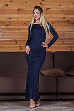 """Элегантное длинное вечернее платье с открытой спиной 429 """"Годе Спина Бантик"""" в расцветках, фото 3"""