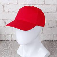 Красная однотонная кепка на липучке (Комфорт)
