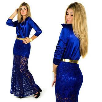 """Элегантное длинное вечернее платье 2051 """"Гипюр Атлас Воротничок"""" в расцветках, фото 2"""