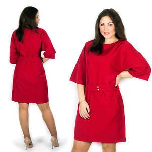 """Элегантное женское платье в больших размерах 582 """"Креп Кармашки Пояс"""" в расцветках, фото 2"""