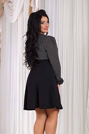 """Элегантное женское платье в больших размерах 1231 """"Отто Шифон Горошек"""", фото 2"""