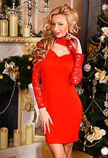 """Элегантное короткое вечернее платье 8098 """"Эластан Гипюр Чокер"""" в расцветках, фото 3"""