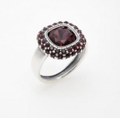 """Кольцо """"Рашель"""" с кристаллами Swarovski, покрытое серебром (a5743016)"""
