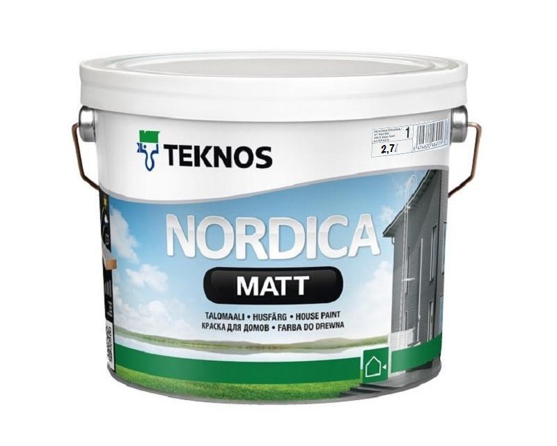 Краска акриловая TEKNOS NORDICA MATTдля древесины белая (база1) 2,7л