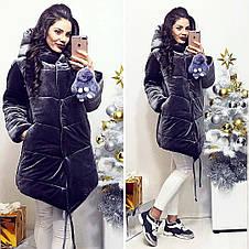 """Стильная тёплая плюшевая куртка на синтепоне 896 """"Зефирка Бархат"""" в расцветках, фото 2"""