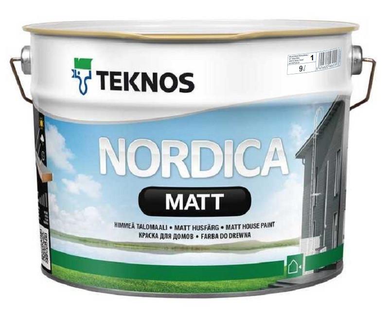 Краска акриловая TEKNOS NORDICA MATTдля древесины белая (база1) 9л