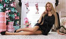 """Женский стильный домашний пеньюар-рубашка 200 """"Атлас Кружево"""", фото 3"""