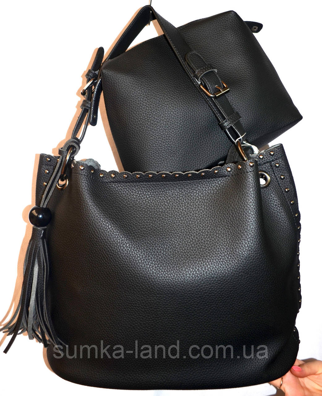 Женская черная сумка два в одном с ремешком 30*26 (сумка + клатч)