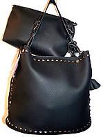 Женская черная сумка с ремешком цепочкой 30*26 (сумка + клатч)