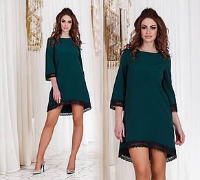 """Элегантное женское платье 1103 """"Креп Ассиметрия Макраме"""" в расцветках, фото 2"""