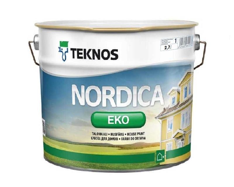 Краска акриловая TEKNOS NORDICA ECO для древесины белая (база1) 2,7л