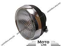 Фара в сборе на мопед DELTA круглая черная Mototech