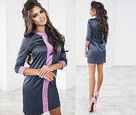 Стильное короткое атласное женское платье с рукавом три четверти +цвета
