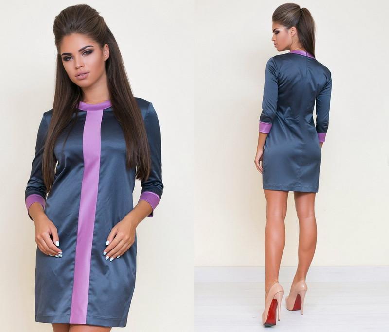 594264abaed Стильное короткое атласное женское платье с рукавом три четверти +цвета