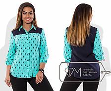 """Стильная женская рубашка в больших размерах 177-1 """"Поло Комби"""" в расцветках, фото 2"""