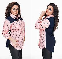 """Стильная женская рубашка в больших размерах 177-1 """"Поло Комби"""" в расцветках, фото 3"""