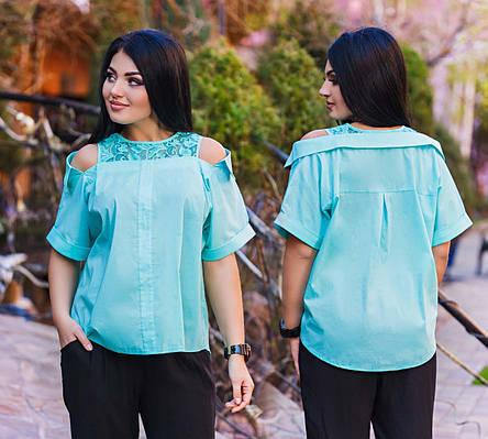 """Элегантная женская блузка в больших размерах 1142 """"Коттон Кружево Плечи"""" в расцветках, фото 2"""