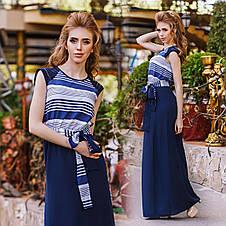 """Элегантное летнее длинное платье 1267 """"Штапель Макси Полоска Комби"""" в расцветках, фото 2"""