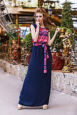 """Элегантное летнее длинное платье 1267 """"Штапель Макси Полоска Комби"""" в расцветках, фото 3"""
