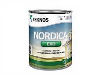 Краска акриловая TEKNOS NORDICA ECO для древесины белая (база1) 0,9л