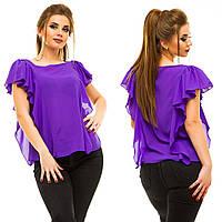 """Элегантная женская нарядная блузка в больших размерах 5009 """"Шифон Крылья Рюши"""" в расцветках"""