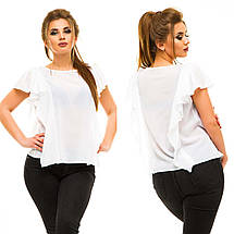 """Элегантная женская нарядная блузка в больших размерах 5009 """"Шифон Крылья Рюши"""" в расцветках, фото 3"""