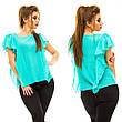 """Элегантная женская нарядная блузка в больших размерах 5009 """"Шифон Крылья Рюши"""" в расцветках, фото 4"""