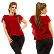 """Элегантная женская нарядная блузка в больших размерах 5009 """"Шифон Крылья Рюши"""" в расцветках, фото 5"""