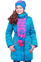 Теплая зимняя голубая курточка для девочек