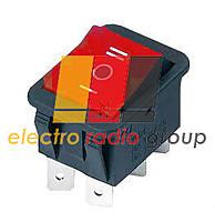 Перемикач клавіатури KCD-4 широкий I-O-II (ON)-OFF-(ON). червоний