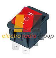 Переключатель клавишный KCD-4 широкий  I-O-II (ON)-OFF-(ON). червоний