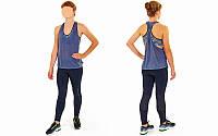 Майка-топ для фитнеса и йоги CO-1528-1 (лайкра, р-р M-L-40-48, темно-синий)