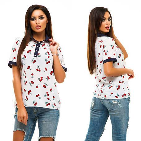"""Женская элегантная летняя блузка 227 """"Креп Вишенки Планка Контраст"""" в расцветках, фото 2"""