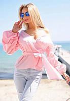 """Элегантная женская блуза в больших размерах 048 """"Коттон Запах Фонарик"""" в расцветках"""